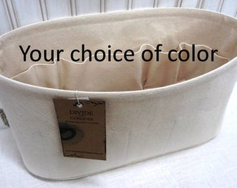 "Oval 14"" x 5"" and 6"" or 7"" Height / Purse ORGANIZER Insert Shaper / With stiff wipe-clean bottom / Sturdy & Durable / You Choose the Color"