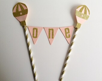 1st Birthday Bunting Cake Topper Peach and Gold Balloon