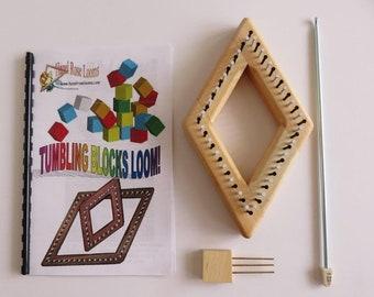 """Hazel Rose Loom Kit - Tumbling Block - 3.5"""" - Maple"""