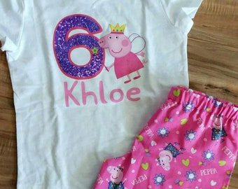 Peppa pig birthday outfit/shirt