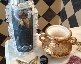 Moon Daughter Candle holder, Moon Goddess, Winebottle, votive, Divine Feminine, Alphonse Mucha, gypsy, celestial, ritual wicca, altar candle