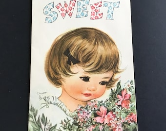 Vintage (Unused) Just because Greeting Card, Adorable Girl & Flowers, Coronation