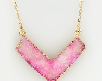 Druzy Rose Necklace , V Necklace , Pink Druzy Necklace , Raw Boho Necklace , Druzy Crystal Necklace , Crystal Long Necklace , Pink Pendant