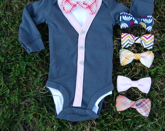 SALE- Baby Boy Cardigan Onesie and Bow Tie Set