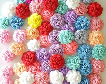 "12 pcs Small Crochet Flowers Roses Handmade Applique Embellishment in multi-color size 2"""