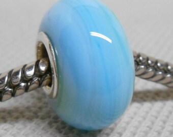 Light Blue Marble Color Lampwork Bead Silver Cored European Charm Bead BHB