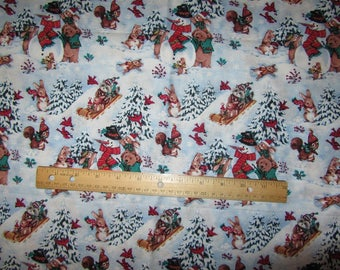 1.5 Yards/54 Inches Multicolored Woodland Animal/Bear/Snowman Christmas Cotton Fabric