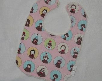 Pink Sock Monkey and Chenille Boutique Bib