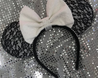 Inspired Black and White Lace Minnie / Mickey Mouse Ears