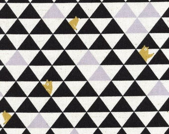 Triangle Bear - Blank Grey Canvas Linen Blend Fabric from Kokka