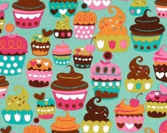 Turquoise cupcake Miller patchwork fabric