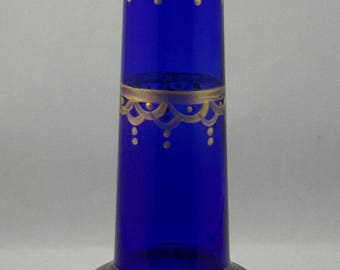 Dramatic Cobalt Blue Hand Painted Vase