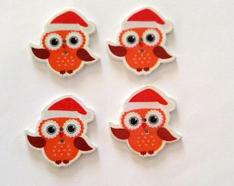 4Red Wooden Christmas Owl Buttons - #C-00077