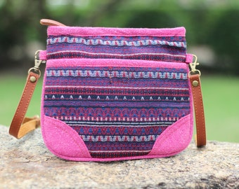 Pink Small Women's Crossbody Bag   Fabric Vegan bag   Hippie bag   Cute Shoulder bag  Woven Hobo Bag  Crossbody Purse  Boho Bag  Tribal Bag