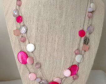 Pink Multi Strand Necklace