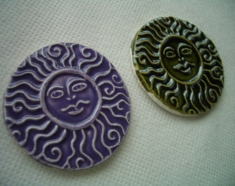 PS2  -  2 INTRICATE SUNS - Ceramic Wall Decor