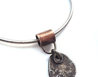 Mixed Metal Bangle - Sterling Silver Bracelet - Sterling Silver Charm Bangle Bracelet