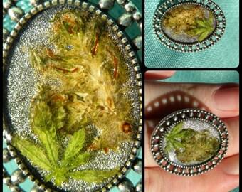 Adjustable mj flower and leaf ring