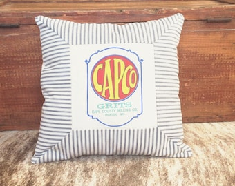 Rustic Pillow Cover 16 x 16 Vintage Grits Feedsack Pillow Railroad Ticking Denim Vintage Pillow Striped Pillows Southern Inspired Home Decor