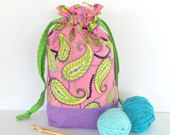 Drawstring knitting bag - Pink Yellow Paisley, medium knitting project bag, Baby shower gift bag Purple and Green Accents