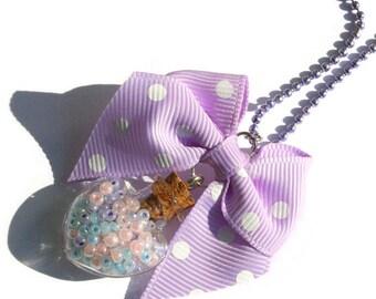 Pastel Bottle Necklace, Purple Heart, Pastel Goth, Fairy Kei Necklace