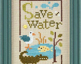 Lizzie Kate Green Flip-It Series - Save Water F97 Counted Cross Stitch Pattern with Button