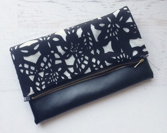 Textured Black and White Lace  & Black Faux Leather Foldover Clutch - Gift for her, Birthday, Anniversary, Bridesmaid