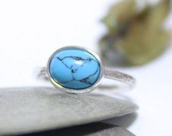 Turquoise Rustic Silver Ring, Statement Ring, Simple Ring, Blue Gemstone Ring, Stacking Ring, Hammered Ring