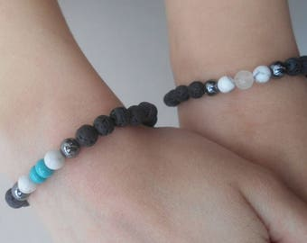 Two Handmade Childrens Lava Stone Bead Essential Oils Diffuser Bracelets