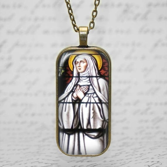 Saint Bridget of Sweden Stained Glass Art Pendant - Catholic Jewelry, Catholic Saint Necklace, St Bridget of Sweden