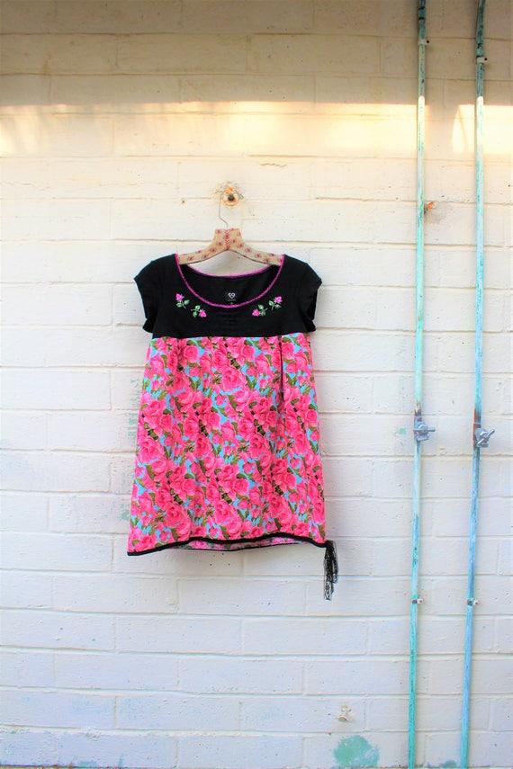 Small Rose Dress/Upcycled Babydoll Dress/Rose Babydoll dress/Babydoll Dress/Upcycled Clothing/Mini Skirt Dress/summer garden dress/Summer