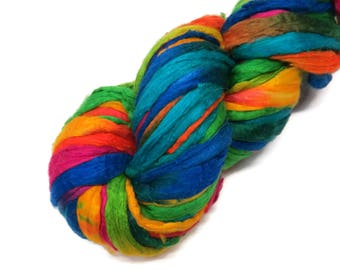 Hand-dyes Mulberry Silk roving, hand dyed (Rainbow)