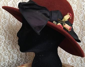 The Rust Belt - 1940s 1930s rust red wide brim ladies hat black satin bow paper flowers vintage millinery vintage fashion