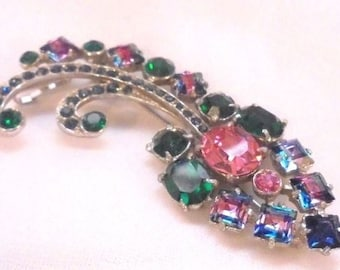 Joseph Wiesner of NY Vintage Colorful Pin Brooch With Givre Stones