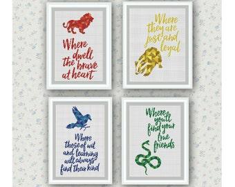 Set of 4 Quotes,Hogwarts Houses Cross Stitch Pattern,Harry Potter cross stitch,Gryffindor,Hufflepuff,Ravenclaw,Slytherin ,Logo, PDF Download