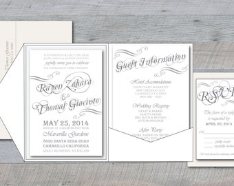 Wedding Invitation - Romantic Fantasy - 3 piece printable set - fairy tale, cursive, handwritten, type, rsvp, information card, princess