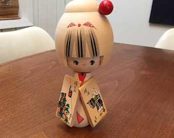 Charming Hand Painted Japanese Wood Kokeshi Doll Geisha with Signature, Nice Size