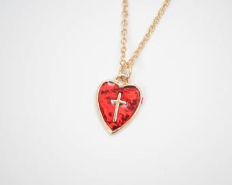 Red Heart Cross Necklace