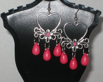 Muted Silver Heart and Flower Earrings with Hot Pink Teardrops and Hot Pink Candy Color Resin Rhinestones  (Costume Jewelry) (E-23)
