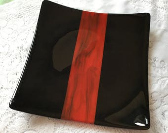 Fused Glass Plate, Red Black Art Glass Plate, Black Red Serving Dish