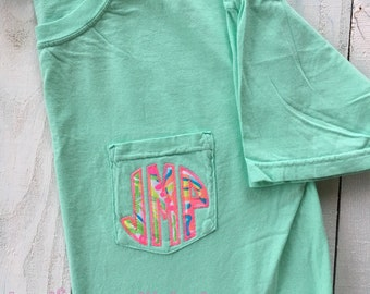 Monogram Lilly Pulitzer Shirt, Comfort Colors Pocket T-shirt, Monogram Shirt, Monogram Pocket Gift for Her