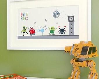 Boy's Wall Art -  Dancing Robot Print