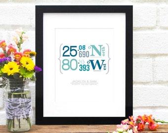 Coordinates Art Print, Latitude and Longitude, Custom Location, GPS Coordinates, Housewarming Gift - 8x10 Art Print