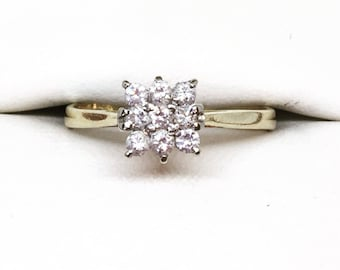 Vintage Diamond Cluster Engagement Ring 18ct, Diamond Engagement Ring, Anniversary Gift, Mother's Day Gift, Free Shipping