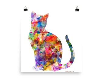 Colorful Watercolor Print, Cat