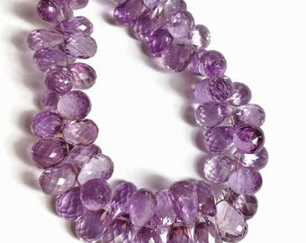 Amethyst micro-faceted teardrops, AAA grade.  Select  a size:  4.25x6.75mm - 6x9.5mmm