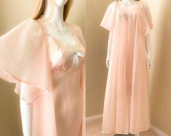 Vintage 60's Pink Chiffon Dressing Gown Robe w Flutter Sleeves, Double Layer Chiffon Long Robe, Shadowline Lingerie