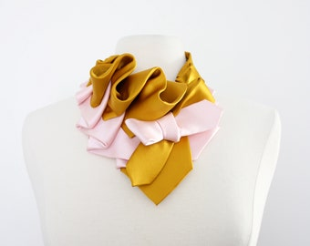 Aster Necktie Scarf in Color Block - Gold + Blush