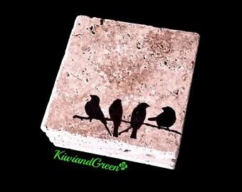 Stone Drink Coaster Set - Custom Coasters - Bird Home Decor - Birds of a Feather - Nature Decor