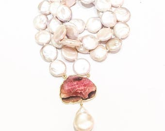 Pink Coin Pearls and Tourmaline Necklace